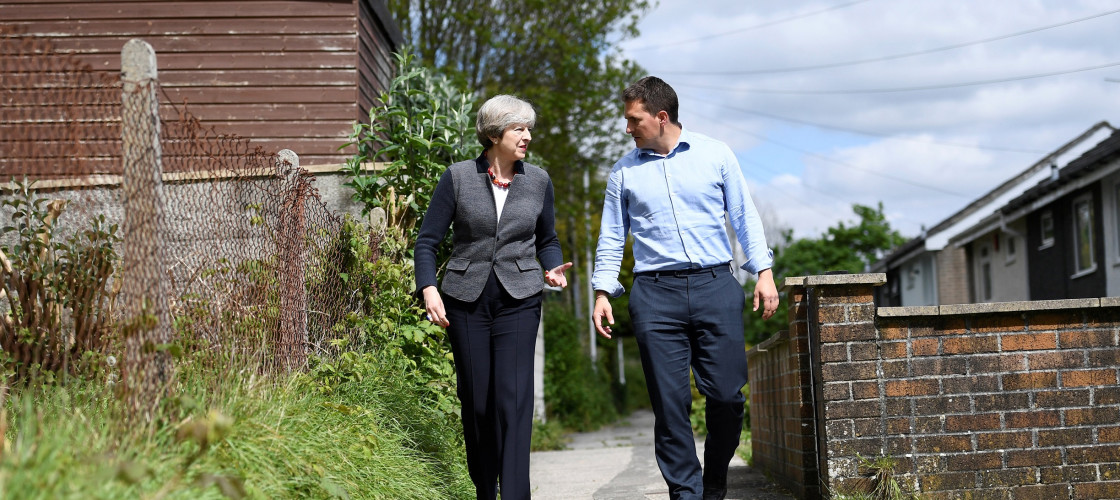 Theresa May and Johnny Mercer on the campaign trail in 2017