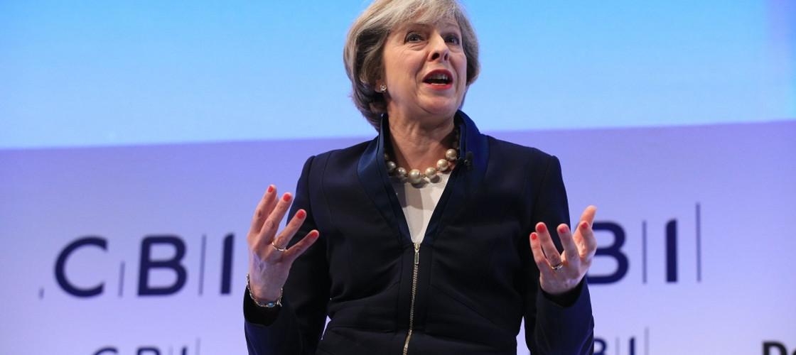 Theresa May at the 2016 CBI conference