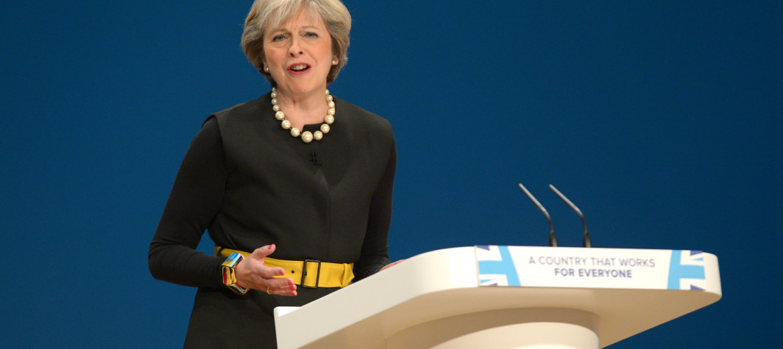 Theresa May addressing the 2016 Conservative conference
