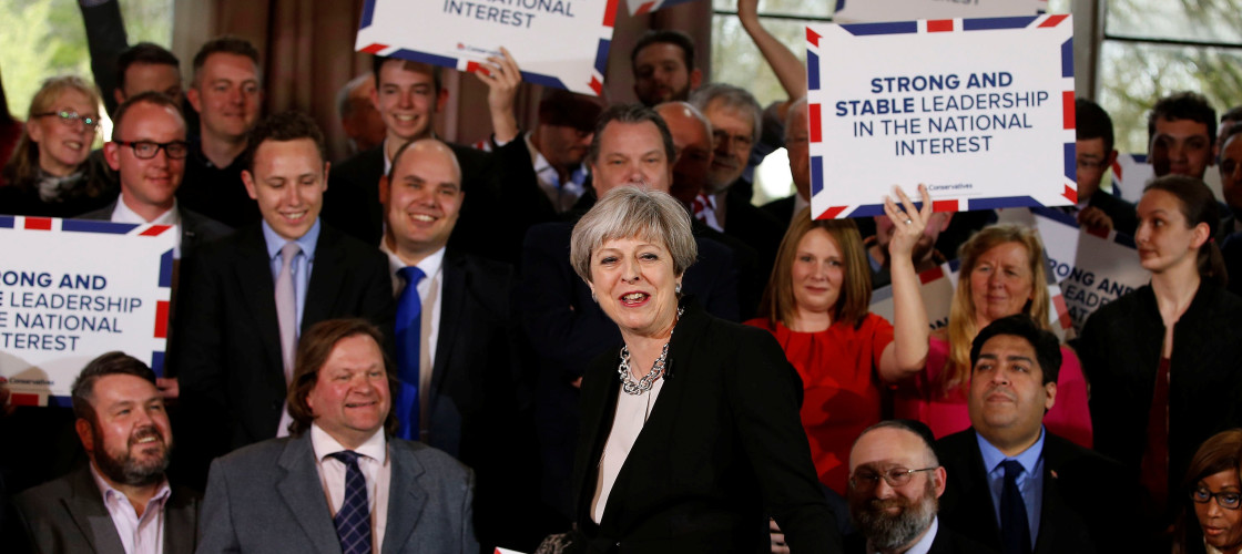 Theresa May during her first rally of the election campaign