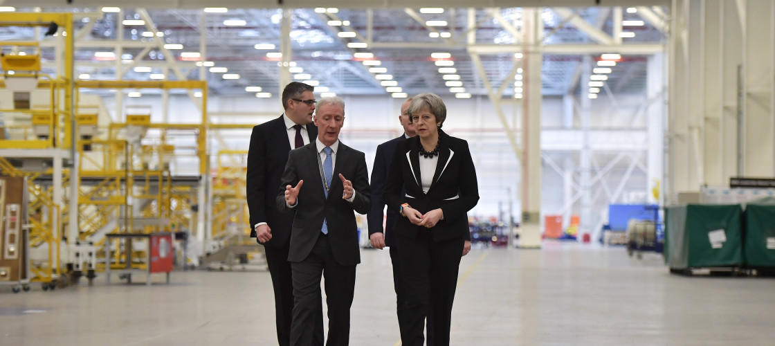 Theresa May on a visit to Bombardier's Belfast factory last month