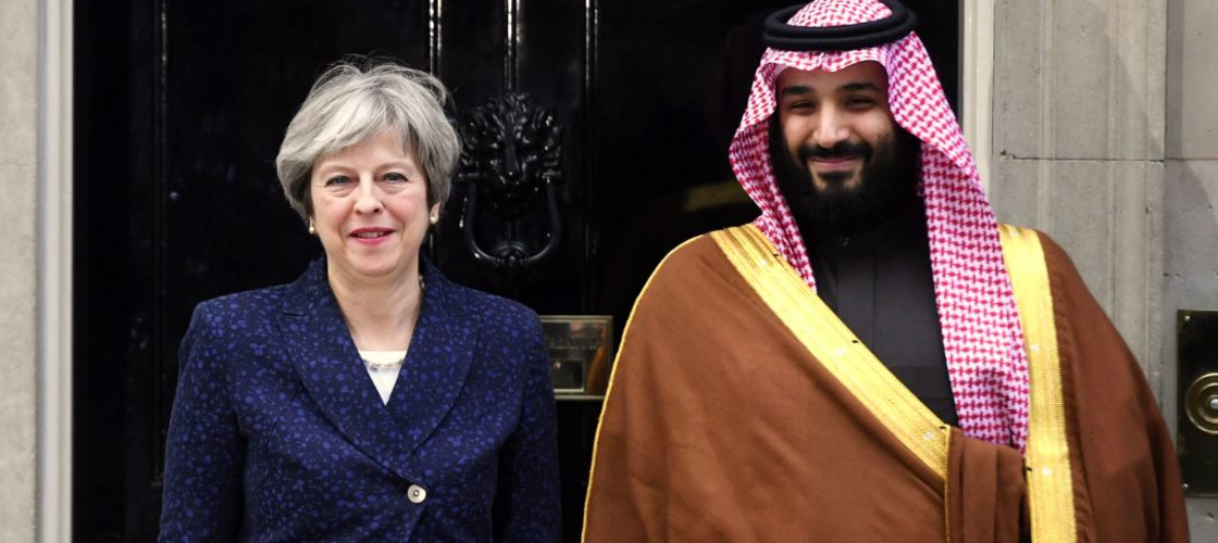 Theresa May and Saudi crown prince Mohammad bin Salman
