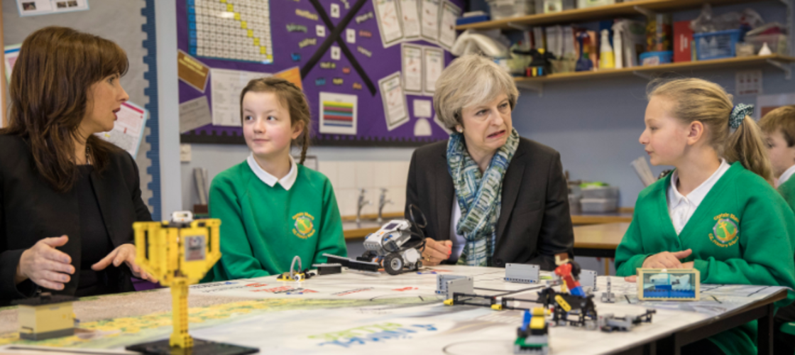 Theresa May with kids