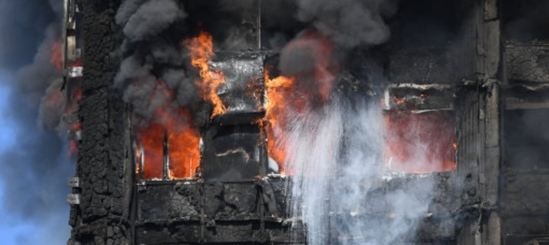 Grenfell Tower in Kensington on fire