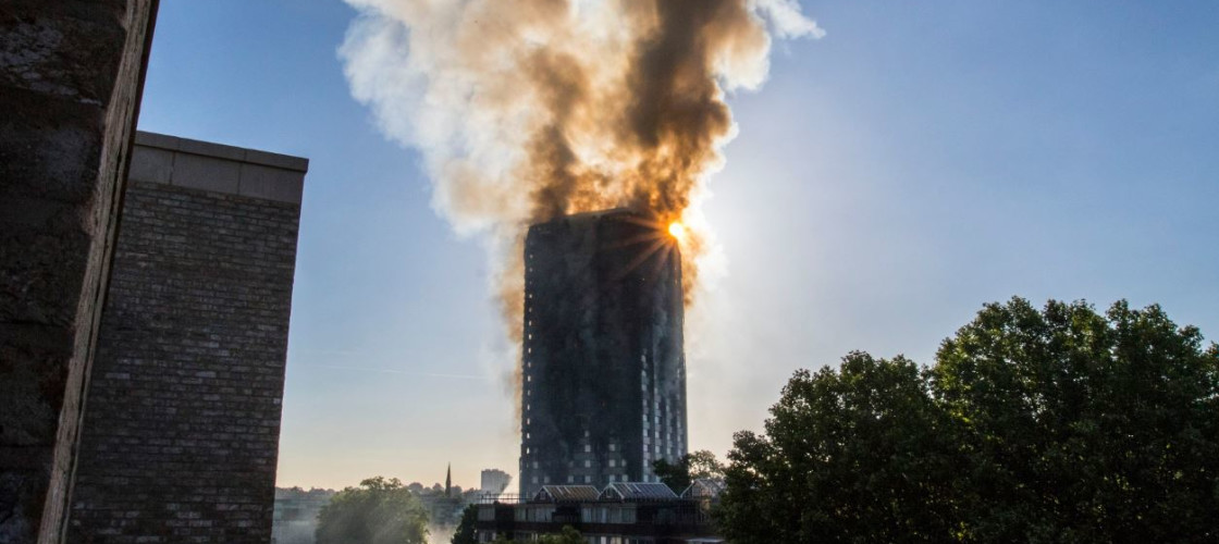 Grenfell Tower block in west London went up in flames last night