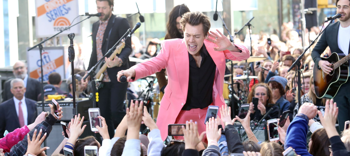 Harry Styles performing on the NBC Today Show concert series in Rockefeller Center in New York.
