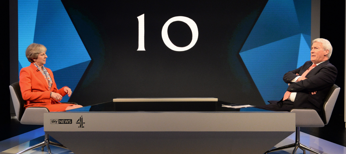 Theresa May and Jeremy Paxman at the Sky and Channel 4 election special