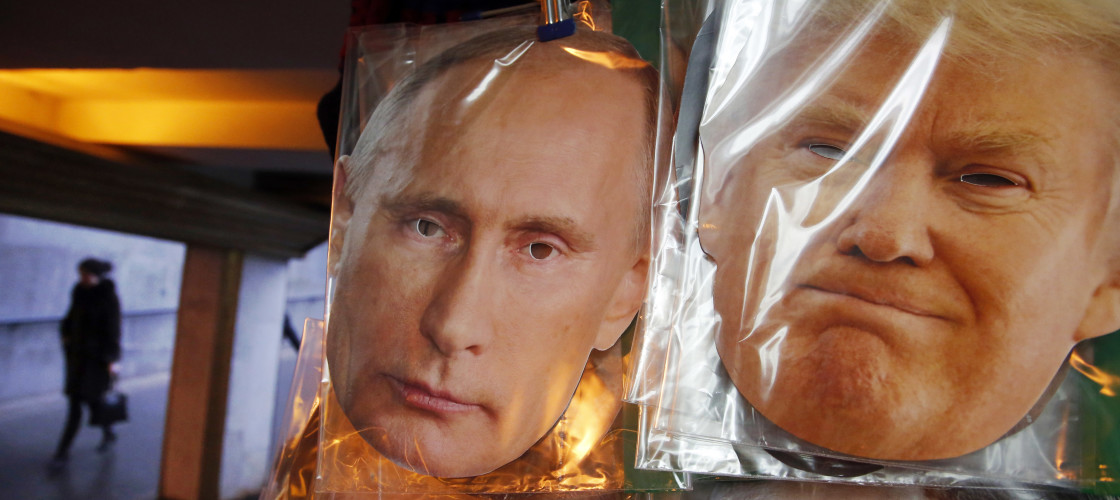 Masks of Donald Trump and Vladimir Putin