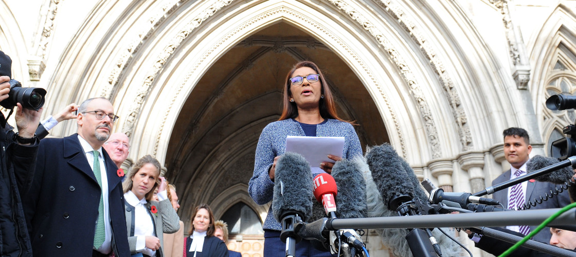 Claimant Gina Miller outside the High Court today