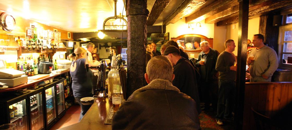 The inside of a UK pub