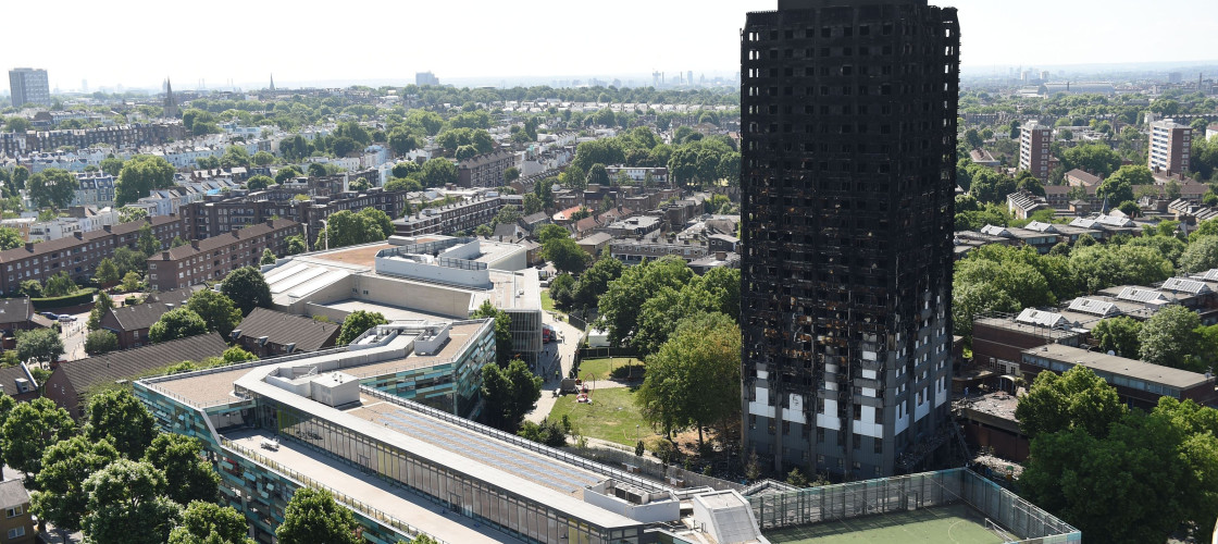 Grenfell tower pictured after the fire