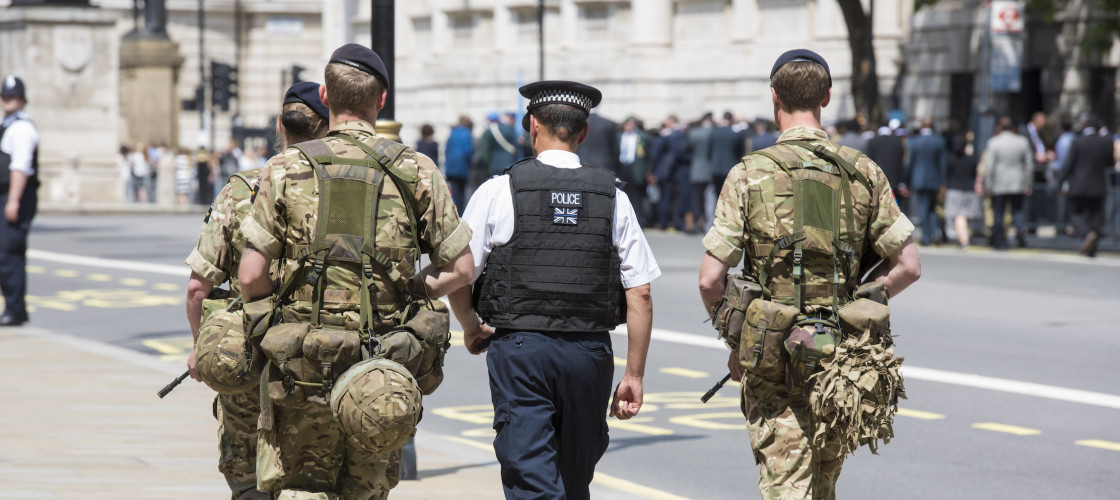 Troops patrol Whitehall