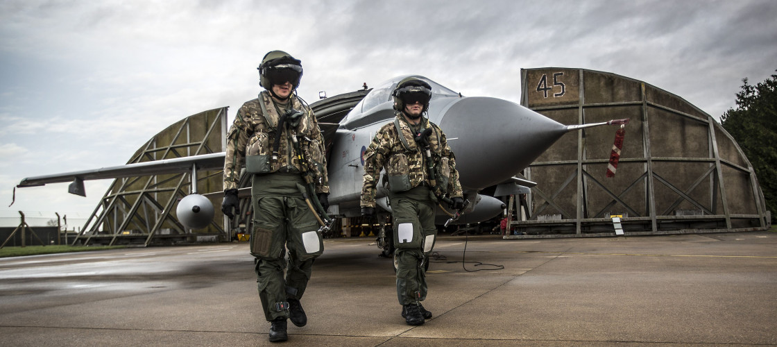 An aircrew with their Tornado GR4 at RAF Marham