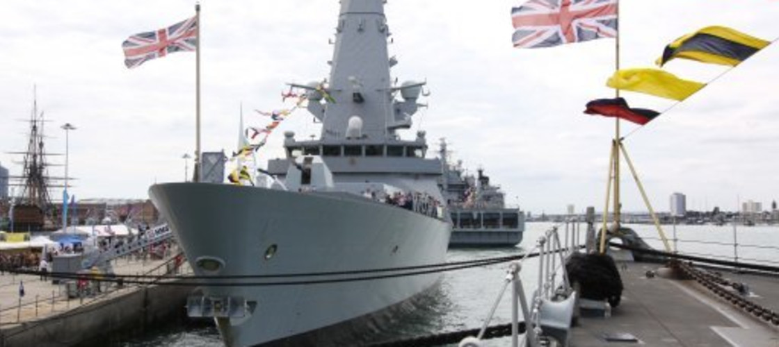 The iconic HMS Dauntless Type-45 destroyer anchored at the Portsmouth Naval Base