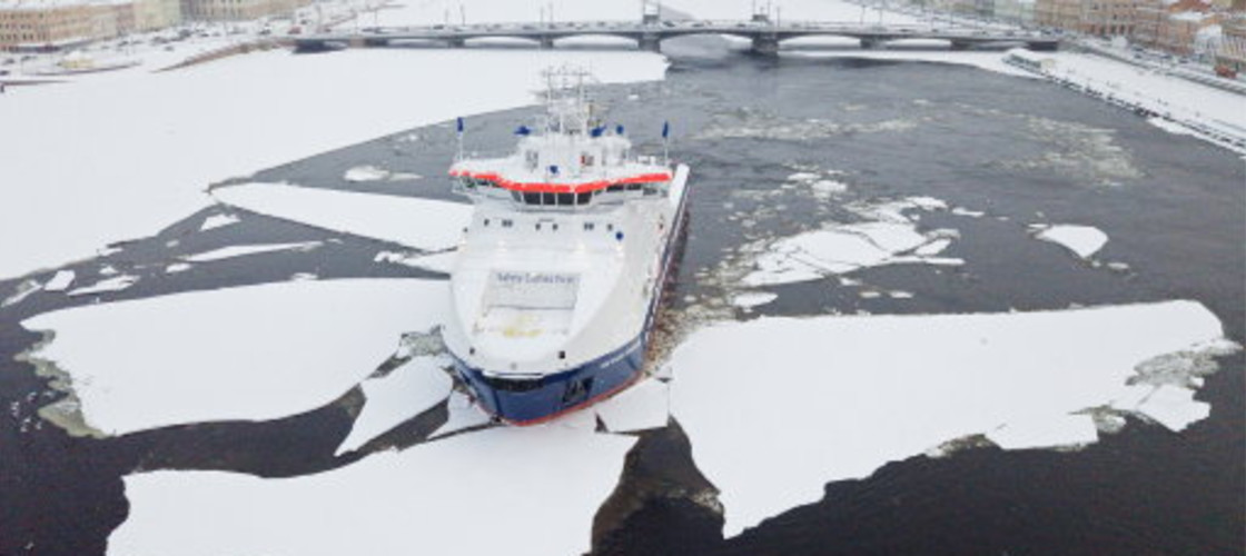 Russian Icebreaker on the water
