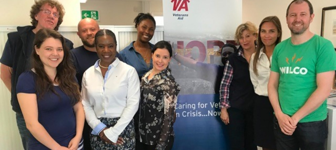 Tramecia Garner (fifth from left) with some of the Veterans Aid team on her last day at the charity