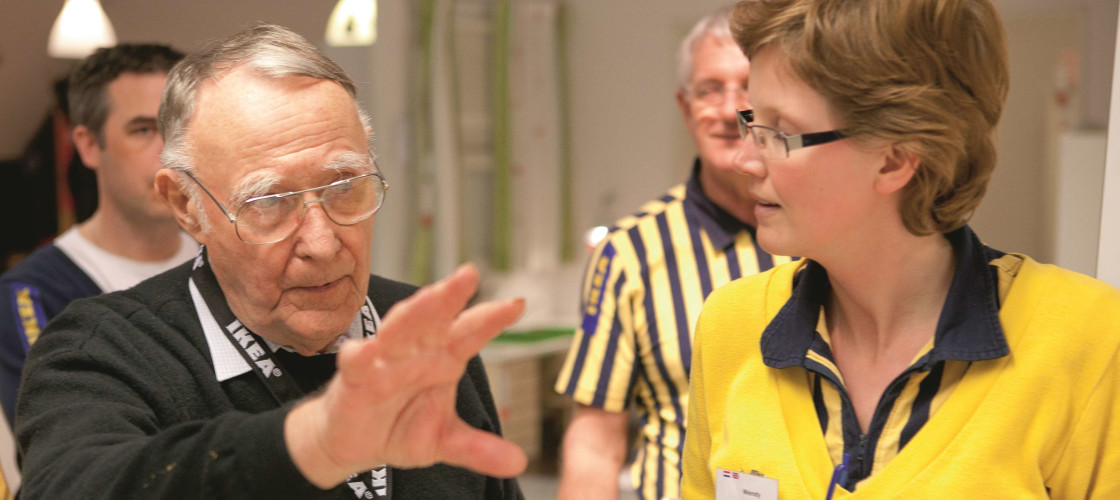 IKEA founder Ingvar Kamprad visiting a store in 2007