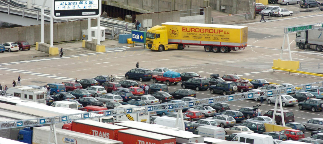 Lorries queue at Dover ferry terminal in Kent