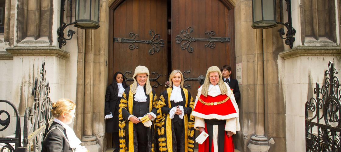 Lord Chancellor Liz Truss alongside Master of the Rolls Lord Dyson and Lord Chief Justice Lord Thomas