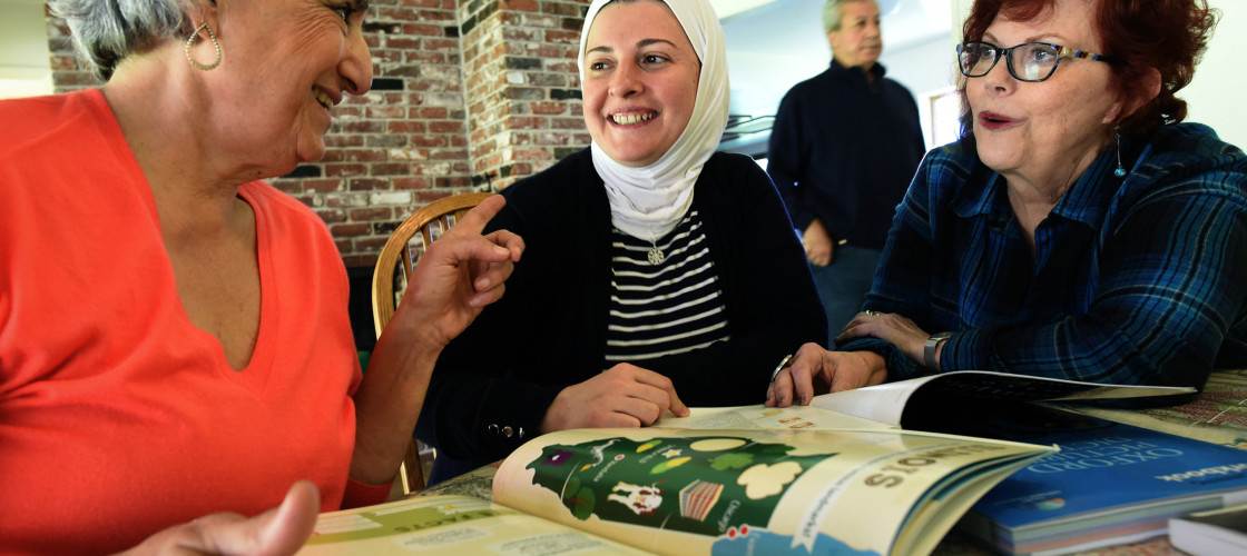 Refugee women in English teach classes