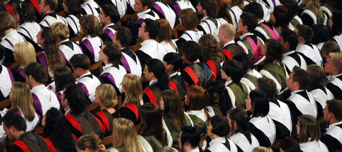 University students at a graduation ceremony