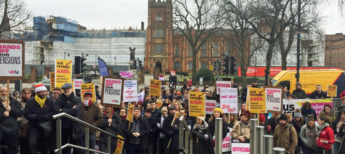 Demonstrators outside Queen's University Belfast
