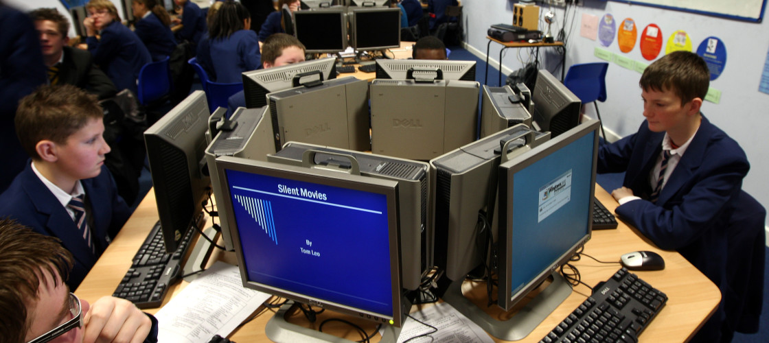 Pupils in a computer suite at a school in Wolverhampton