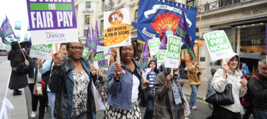 Trade unionists protest against the public sector pay cap
