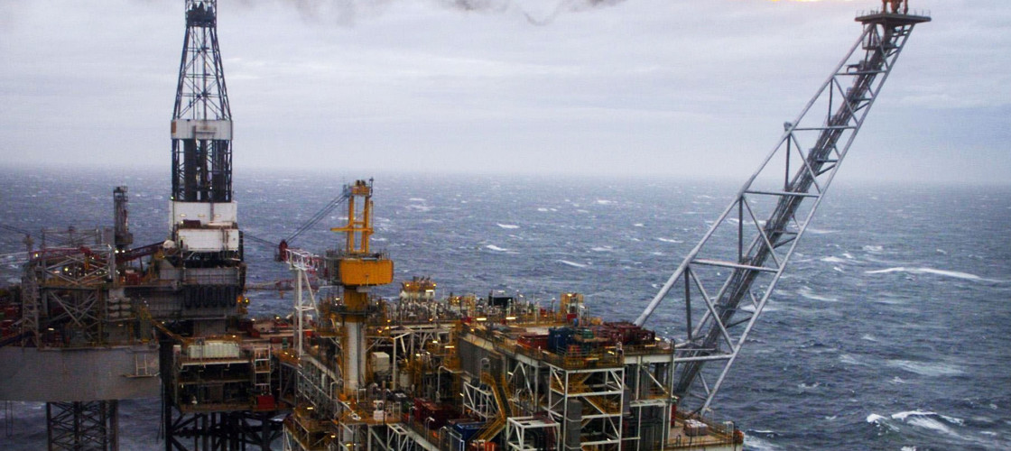 An oil rig in the North Sea off the Scottish coast