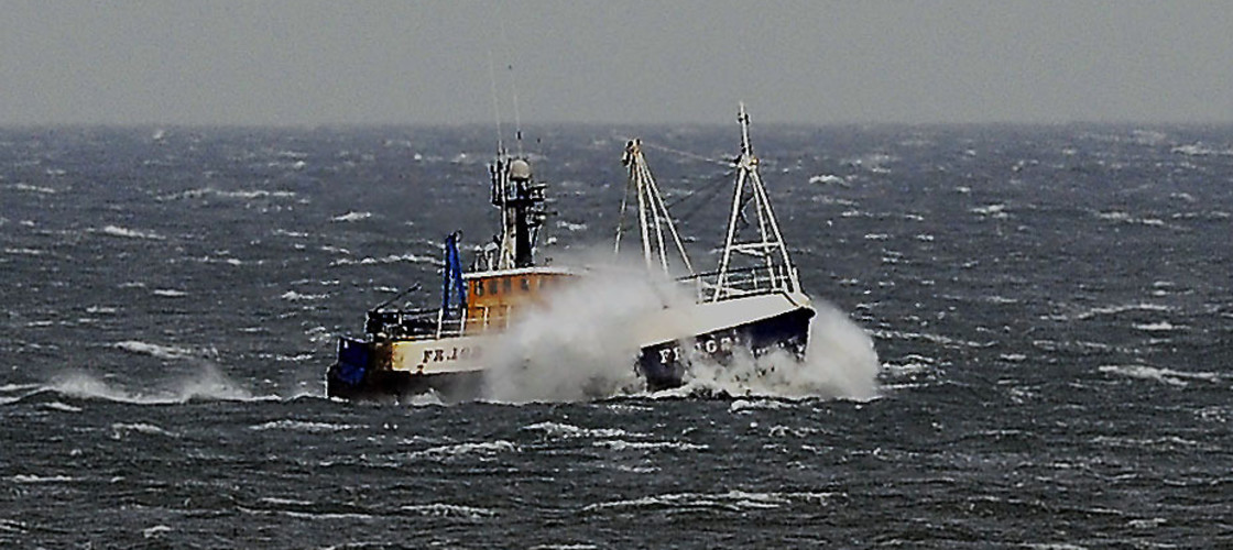 A trawler pictured off the east coast of England