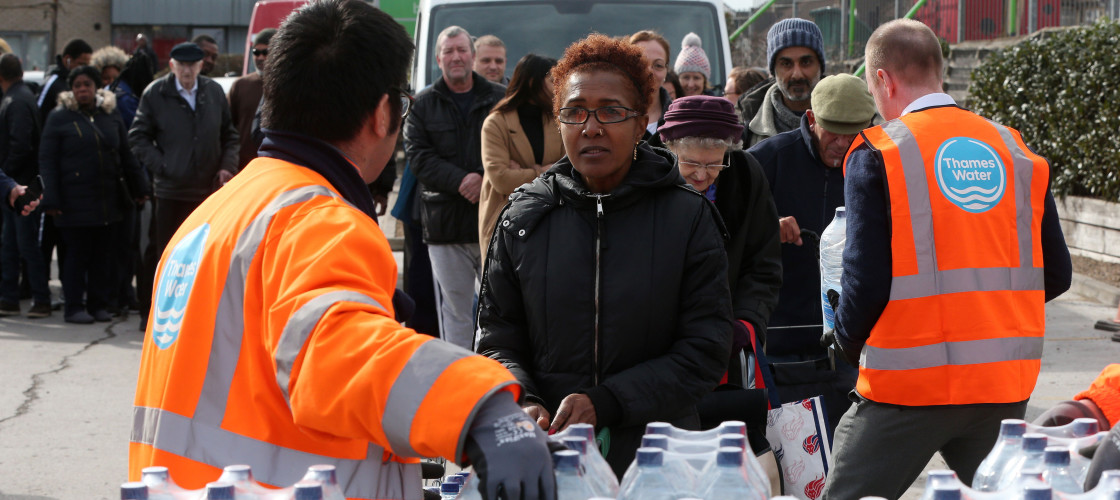 Thousands of people were left without water for more than 36 hours in March 2018 after extreme weather caused burst pipes.