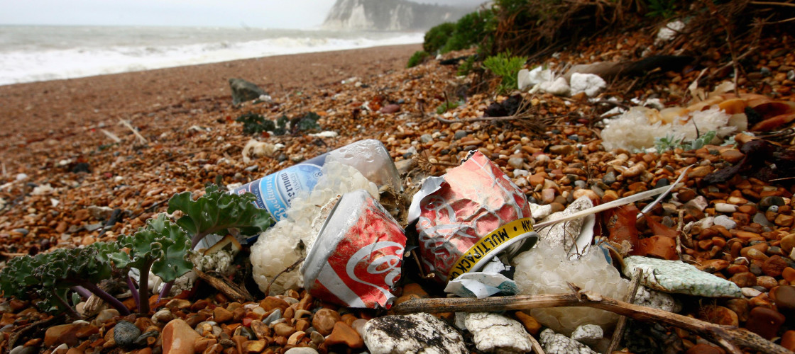 Rubbish left on a beach