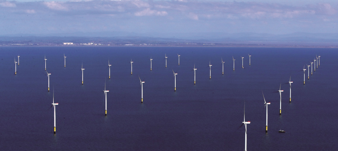 The Walney Exrtension, off the Cumbrian coast: the world's largest offshore windfarm opened in September