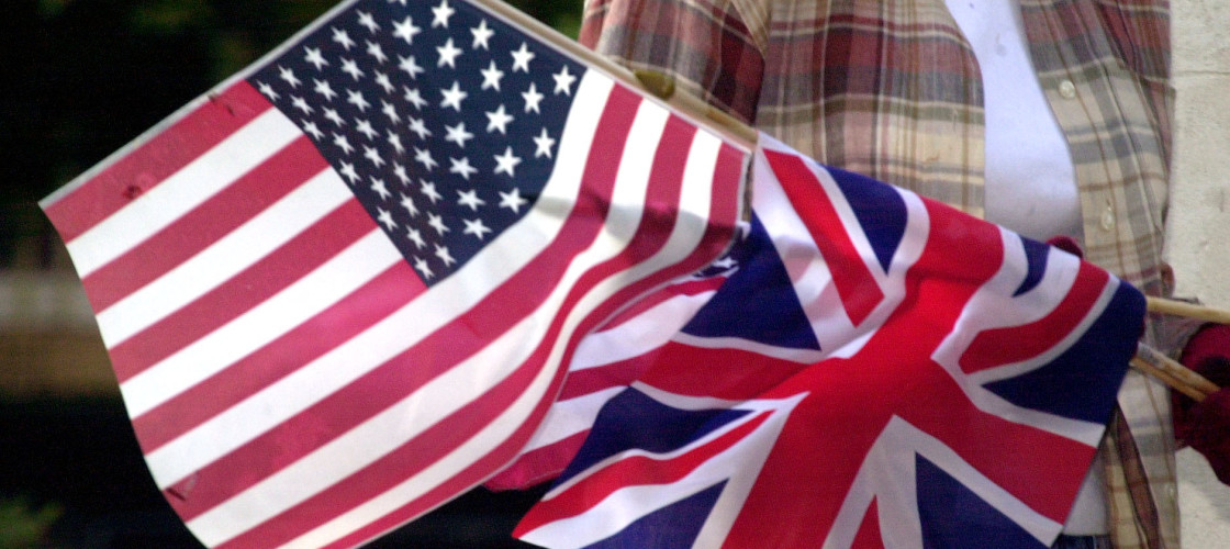 Flags of the United States and United Kingdom side by side