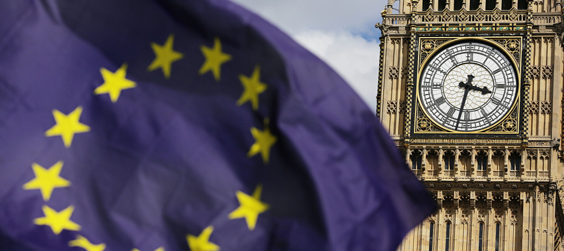 The EU flag flying in front of Parliament