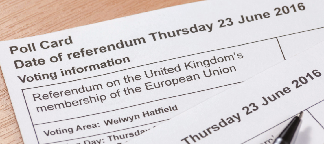Polling card at the 2016 EU referendum