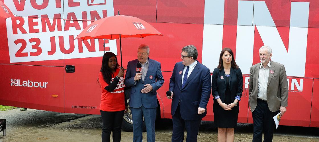 Alan Johnson, Jeremy Corbyn, Gloria De Piero and Tom Watson launch Labour In 'battle bus'