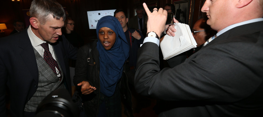 Protester Naima Omar at the Ukip campaign launch