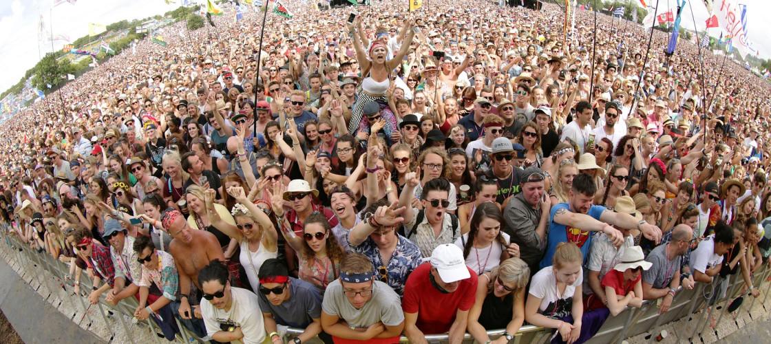 Revellers at the Glastonbury festival