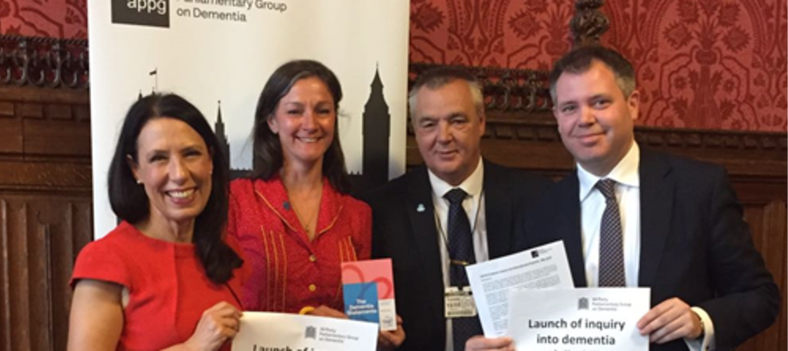 Debbie Abrahams MP, APPG Co-Chair; Sally Copley, Director of Policy, Campaigns and Partnerships at Alzheimer's Society; John O'Doherty, living with dementia; and Edward Argar MP, APPG Co-Chair