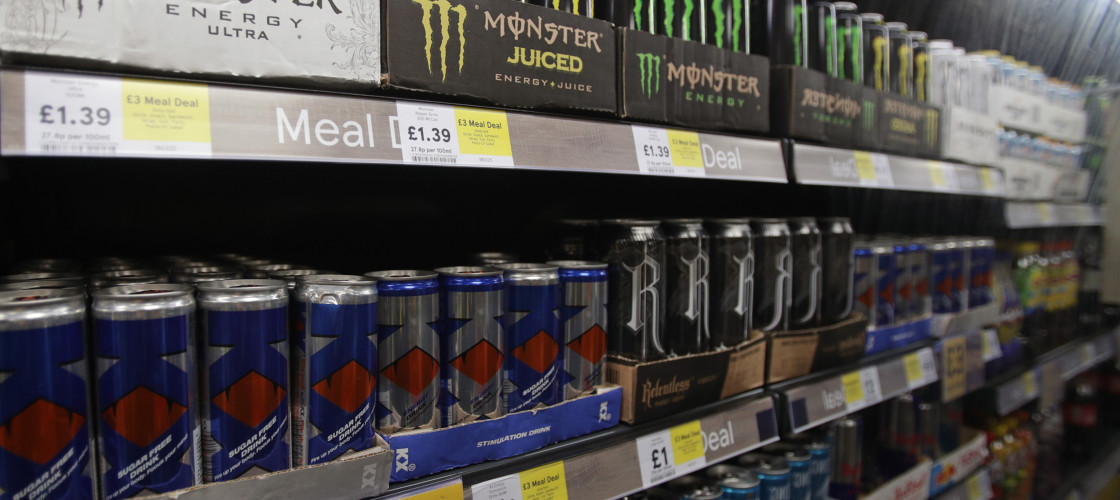 Energy drinks on sale in the UK