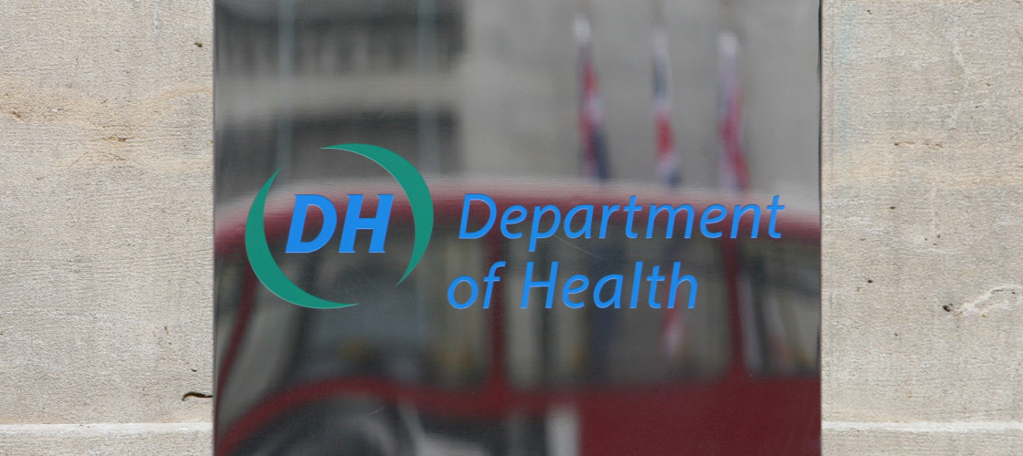 A sign for the Department of Health, situated on Whitehall in Westminster, central London