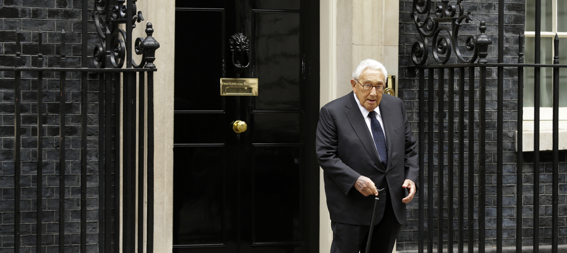 Former US Secretary of State Henry Kissinger outside 10 Downing Street