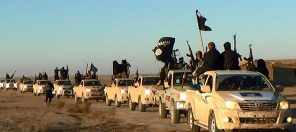 A convoy of Islamic State fighters pictured in 2014