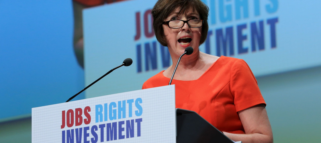 Frances O'Grady addressing the TUC Congress today