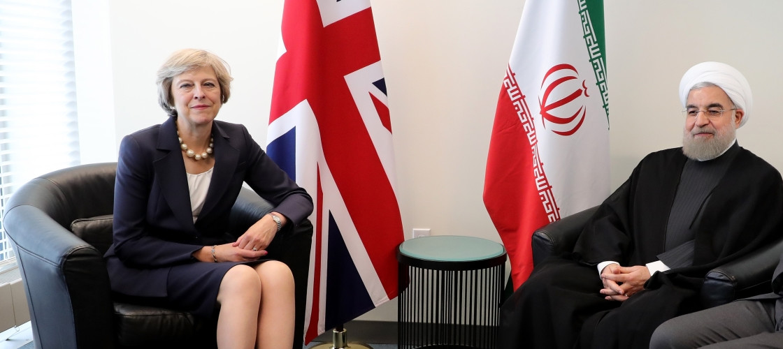 Prime Minister Theresa May and the President of Iran, Hassan Rouhani