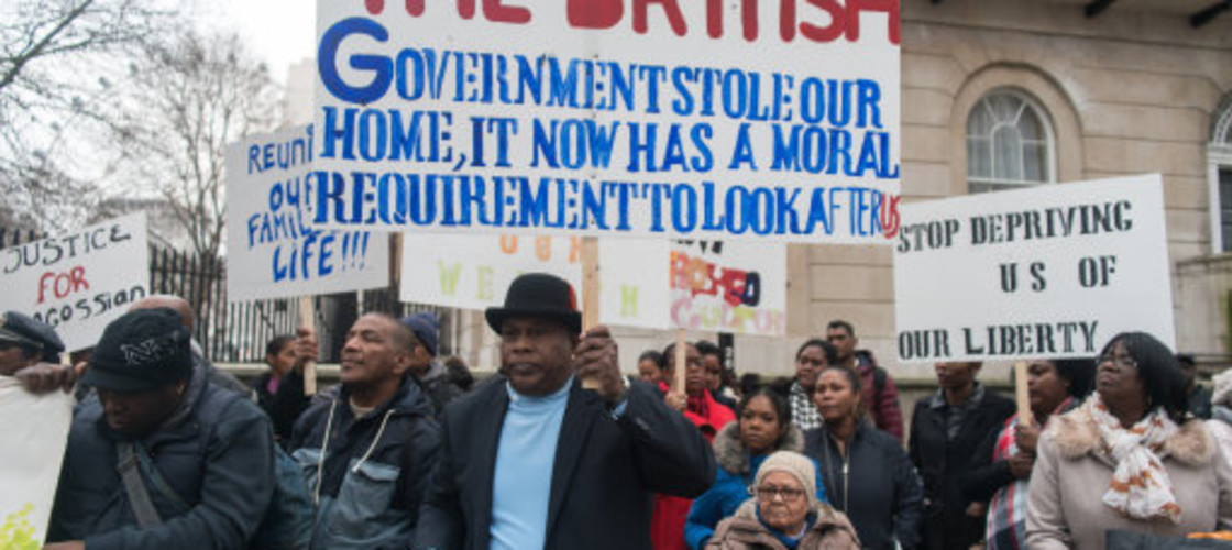 Chagos Islanders demonstrate against their treatment from the UK Government