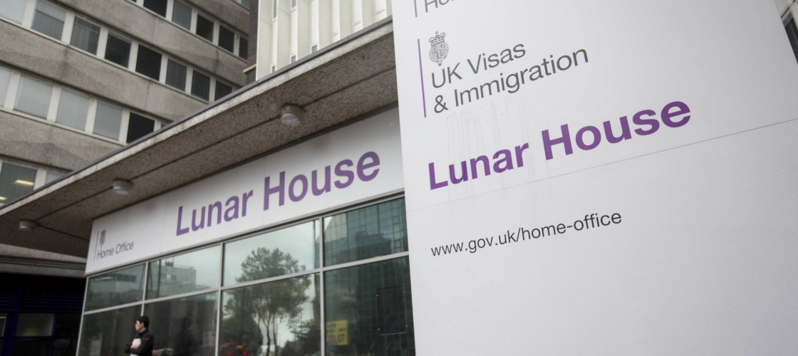Outside of Lunar House, HQ of UK Visas and Immigration
