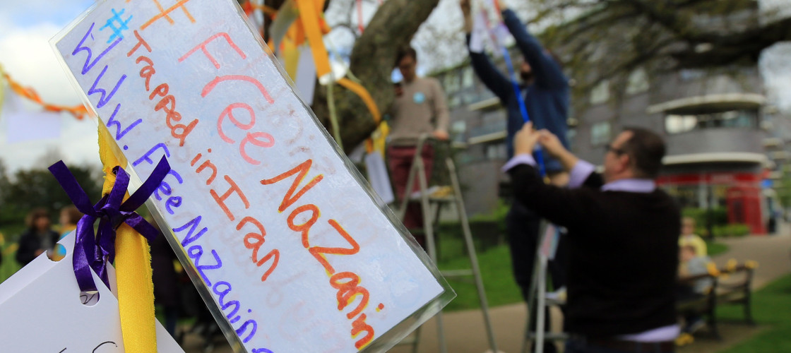 Family and supporters tie yellow ribbons to trees in Fortune Green, West Hampstead, to mark 365 days since British-Iranian mother, Nazanin Zaghari-Ratcliffe was imprisoned in Tehran.