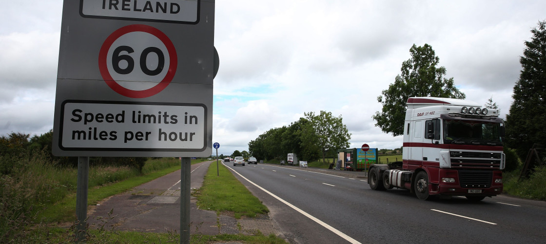 A traffic sign on the border between Northern Ireland and the Republic